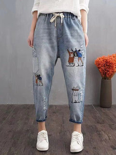 Casual Cartoon Embroidery Loose Harem Pants with Pockets