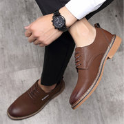 Men British Style Microfiber Leather Slip Resistant Casual Formal Shoes