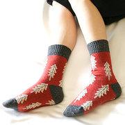 Damen Weihnachtsbäume gedruckt Tube Lustige Socken Warm Soft Baumwollsocken für Weihnachtsgeschenk