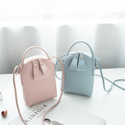 Women Solid Leisure Mini Phone Bags Faux Leather Bucket Bags Travel Crossbody Bags