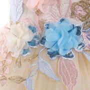 Robe de princesse de mariage sans manches de reconstitution historique de fleur de broderie de filles pour 4Y-13Y