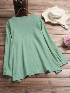 Vintage Embroidered Solid Color Long Sleeved Blouse for Women