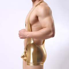 Sexy Shining Stage Jumpsuit Faxu Leather Elastic Double Strap Butt Lifting Underwear for Men