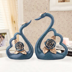 2Pcs European Luxury Resin Flower Swan Ornament Home Decoration Crafts TV Cabinet Office Statues