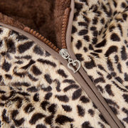 Leopard Print Girls Hooded Winter Thicken Coat For 1Y-7Y