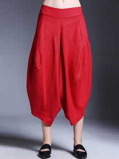 Miting Casual Loose Asymmetrical Solid Color Women Wide Leg Pants