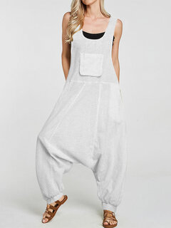 Women Pocket Plaid Loose Overall Sleeveless Harem Romper