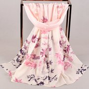 19 New Transition Leaves Small Magpie Chiffon Foulard in seta stampata Yiwu Long Small Scarf