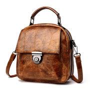 Faux Leather Retro Stripe Designer Handbag Backpack Shoulder Bag For Women