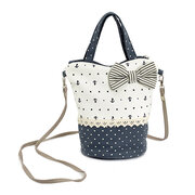 Women Canvas Round Dot Bucket Bag Hitcolor Crossbody Bag