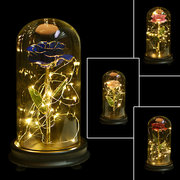 24K Gold Rose with LED Light Artificial Decoration Dome Wood Base Valentine's Gifts