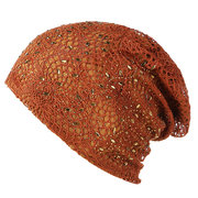Women Thin Hollow Breathable Cotton Linen Material Grain Decoration Fashion Beanie Cap