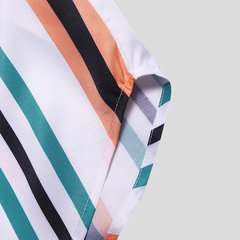 Mens Funny Multi Color Striped Turn Down Collar Short Sleeve Loose Casual Shirts