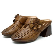SOCOFY Retro Handmade Hollow Out Pattern Square Heel Leather Sandals
