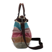 KVKY Canvas Striped Handbags Vintage Contrast Color Shoulder Crossbody Bags