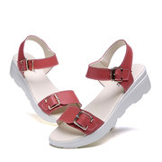Solid Buckle Cow Leather Sandals