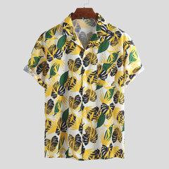 Мужские гавайские цветочные набивные хлопковые нагрудные карманы с отложным воротником Пляжный Свободные рубашки с коротким рукавом