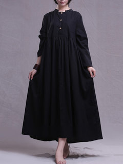 Vintage Baggy Pure Color Big Dress with Pockets