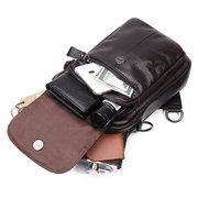 Men Cowhide Genuine Leather Chest Bag Multi-Carry Crossbody Bag