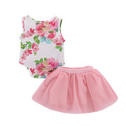 One Printed Girls Floral Romper + Tutu Skirt Set For 0-24M