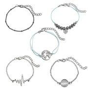 Mode einfache Armband Set Herz schwarz Perlen Armband 5 Stück Legierung Armband für Damen