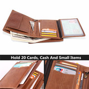 Men Genuine Leather RFID Anti-magnetic Vintage Outdoor Casual 20 Card Slots Wallet