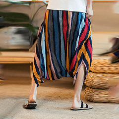 Mens Striped Printed Harem Pants Cotton Casual Baggy Loose Trousers Fashion Wide Legs Trousers