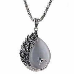 Vintage plume de paon opale pendentif collier chaîne de chandail en cristal cadeau pour les femmes