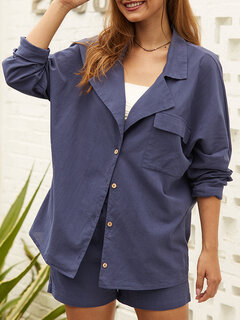 Casual Solid Color Turn Down Collar Button Manga comprida Camisa