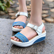 Genuine Leather Wedges Solid Buckle Strap Beach Sandals