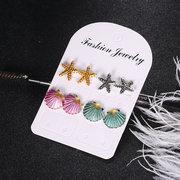 أزياء 4 قطع الأقراط الصدف الملونة نجم البحر ساندي بيتش الأقراط لطيف مجموعة هدية للمرأة