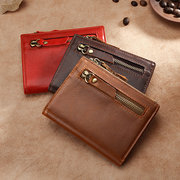 RFID Men And Women Bifold Wallet Vinatge Oil Wax Genuine Leather 7 Card Slot Coin Purse