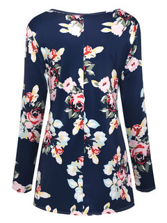 Floral Print Front Open Maternity Long Sleeve Nursing Tops