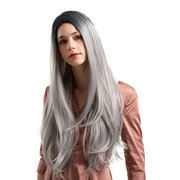 26 Inch Synthetic Wigs Black Gradient Gray Elegant Long Straight Hair Wigs For Women
