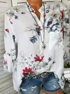Floral Print Stand Collar Long Sleeve Chiffon Blouse
