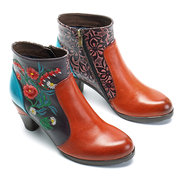 SOCOFY Retro Blossom Embroidery Pattern Zipper Ankle Leather Boots