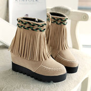 Large Size Tassel Woven Ankle Boots
