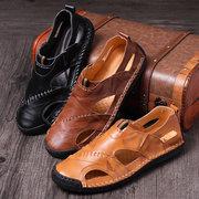 Uomini di grandi dimensioni Classic Cucitura a mano Outdoor Comodi sandali in pelle Soft