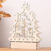 DIY Creative LED Light Tabletop Christmas Wooden Decorations Adornment Xmas Gift