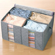 130L Transparent Clothes Quilts Storage Bags Folding Organizer Bags Bamboo Container