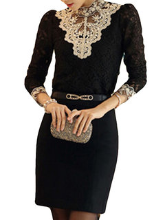 Lace Floral Patchwork Stand Collar Long Sleeve Blouse