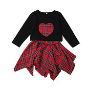 Grid Print Girls Long Sleeve Tops + Irregular Skirt Set For 1Y-7Y