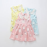 Cute Doll Collar Toddler Girls Sleeveless Floral Party Princess Dresses For 2Y-9Y