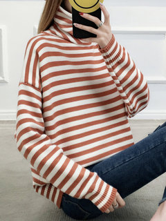 Striped Knit Pullover High-neck Sweaster