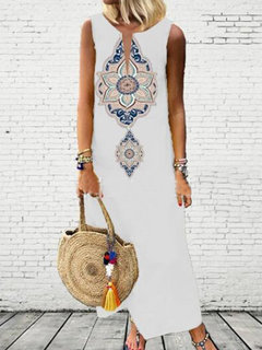 Bohemian Print V-neck Sleeveless Summer Plus Size Dress