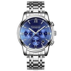 Geschäfts-Mann-Silber-Uhr-Edelstahl-Bügel-Kalender-Datums-leuchtende Quarz-wasserdichte Uhren