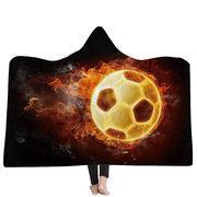 3D Basketball Football Ball Fire Blanket Polyester Flannelette TV Blanket Waerable Hooded Blanket