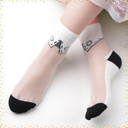 Women Summer Glass Silk Art Socks Harajuku Style Crystal Sock
