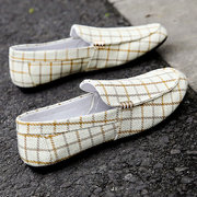 Men Plaid Fabric Comfy Slip On Low Top Soft Casual Loafers
