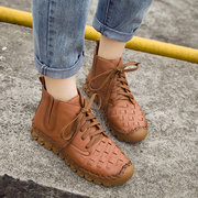 SOCOFY Sooo Comfy Casual Stitching Leather Flat Ankle Boots